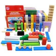 Blocs de construction de Domino en bois, organe de jouets pour enfants, assortiment de couleurs, jeu de dominos éducatifs Montessori, en bois, en arc en ciel
