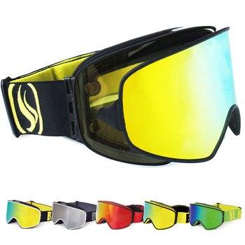 2019 gafas de esquí 2 en 1 con lentes magnéticas de doble uso para esquí nocturno Anti-niebla UV400 gafas de Snowboard hombres mujeres gafas de esquí