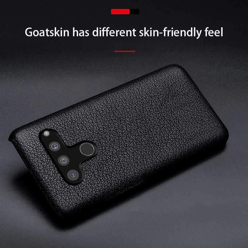 ซองหนังสำหรับ LG V50 G8S V10 V20 V30 V30s V40 Q6 Q7 Q8 G3 G4 G5 G6 G7 g8 ThinQ กรณีแพะธรรมชาติผิวปกหลัง