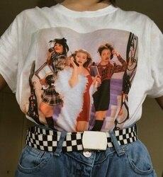 Kuakuayu HJN 90 s, винтажная модная футболка, женская футболка Tumblr, модная Милая Эстетическая футболка с рисунком на тему гранж, неизвестная Мужска...