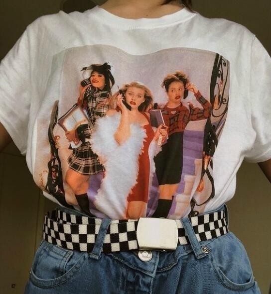 Kuakuayu HJN 90s Vintage Fashion Clueless T-Shirt Women's Tumblr Fashion Cute Aesthetic Grunge Tee Clueless Men Graphic Tee