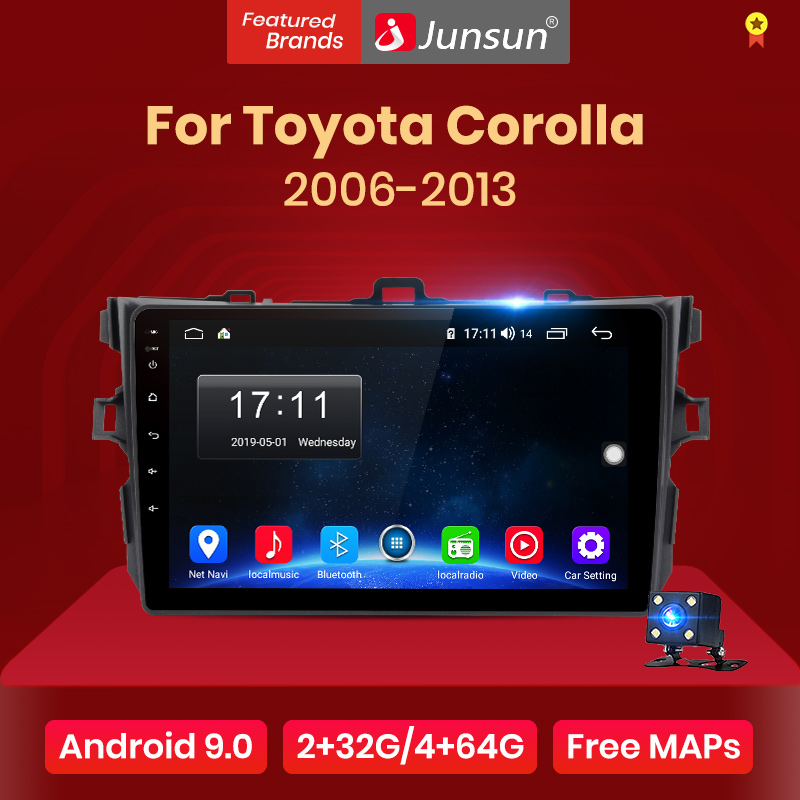 Junsun V1 Android 9 0 2G 32G DSP Car Radio Multimedia Player GPS Navigation For Toyota Corolla E140 E150 2006-2013 2 din no DVD