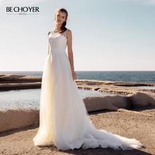 BECHOYER Simple Lace Wedding Dress 2020 O Neck Sleeveless A Line Train Customized Princess Bride Illusion Vestido de Noiva AB52