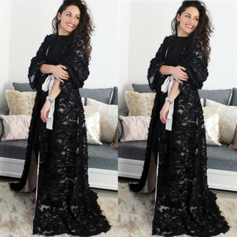 Luxury Muslim Lace Floral Abaya Cardigan Maxi Dress Kimono Long Robes Vestidos Middle East Eid Ramadan Turkish Islamic Prayer