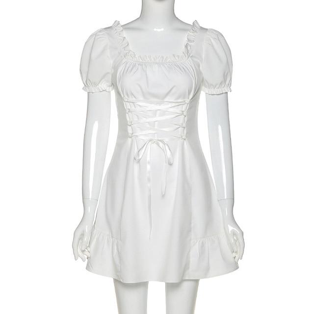 Fashion Elegant Bow White Female Mini Dress Spring Summer Party Birthday Festival Cute Sexy French Romantic Silk Bubble Sleeves 6