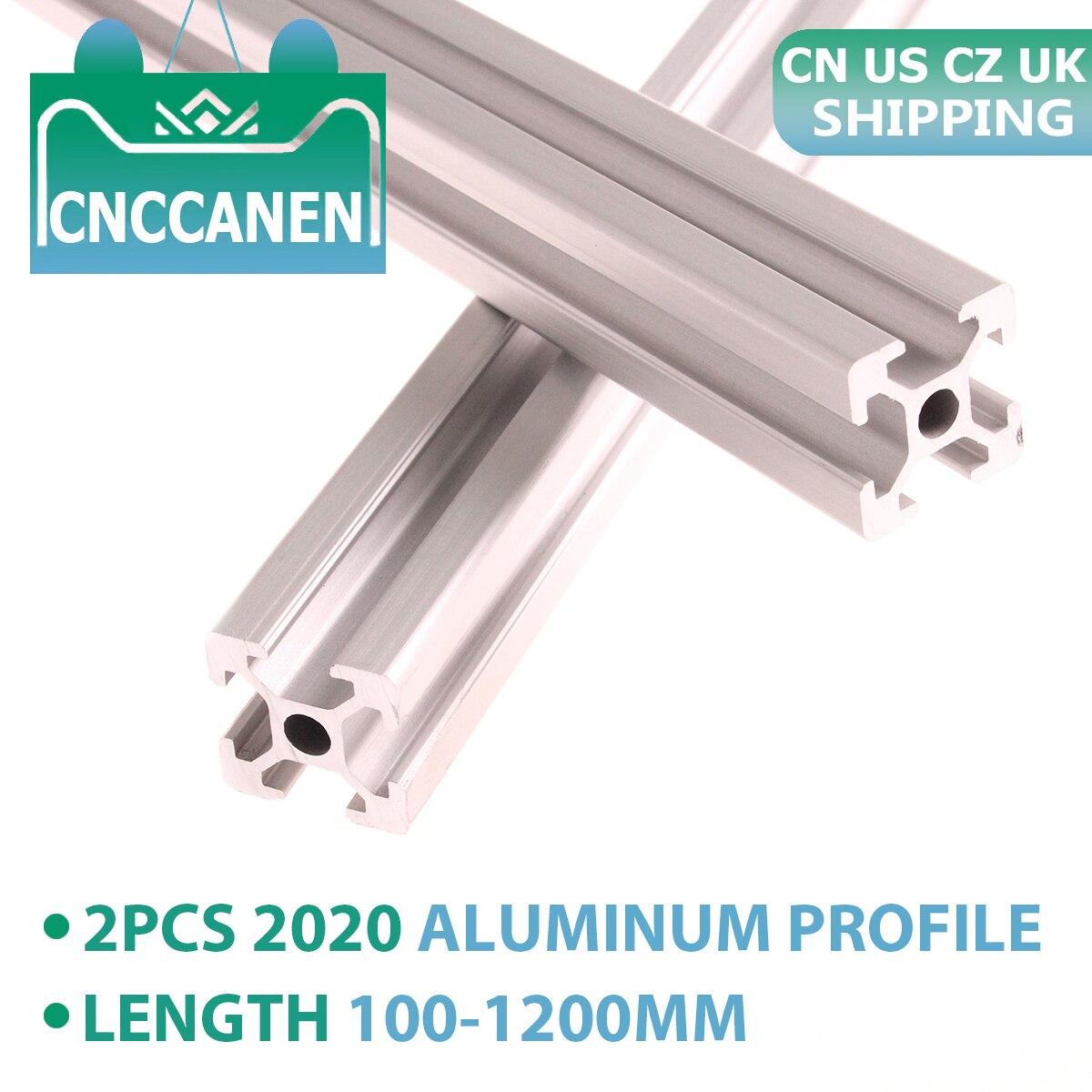 Extrusión de perfil de aluminio 2020, 2 uds. De riel lineal estándar europeo 2020 a 1200mm de 100mm de longitud para CNC 3D, piezas de impresora CZ UK US