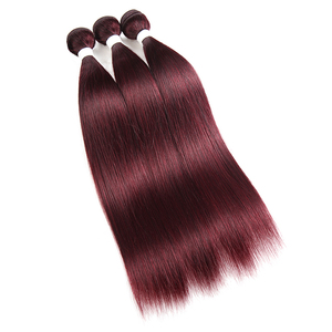 Image 3 - 99J/Burgundy Red Colored Human Hair Weave Bundles With Lace Closure 4x4 Brazilian Straight Non remy Hair Weft Extensions X TRESS
