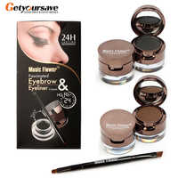 Pro 4 in 1 Augen Make-Up Set Gel Eyeliner Braun + Schwarz Augenbraue Pulver Make-Up Wasserdicht Und Wisch- beweis Eye Liner Kit