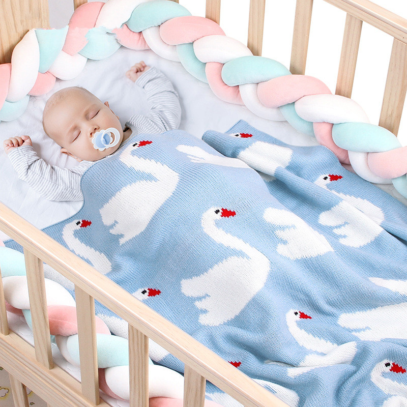 Newborn Baby Blankets Cartoon Swan Crochet Blanket Swaddle Kids Bedding Cover Quilt Appease Soft Baby Photo Props Swaddling Wrap
