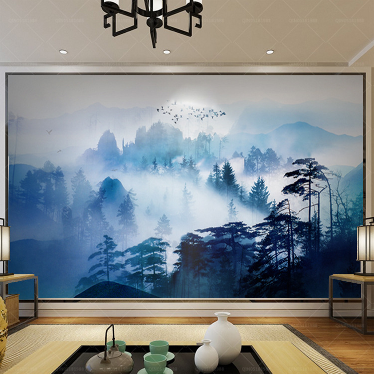 New Chinese Style Zen Ink Landscape Pine Television Sofa Wall Painting Customizable Large Painting Wallpaper Country