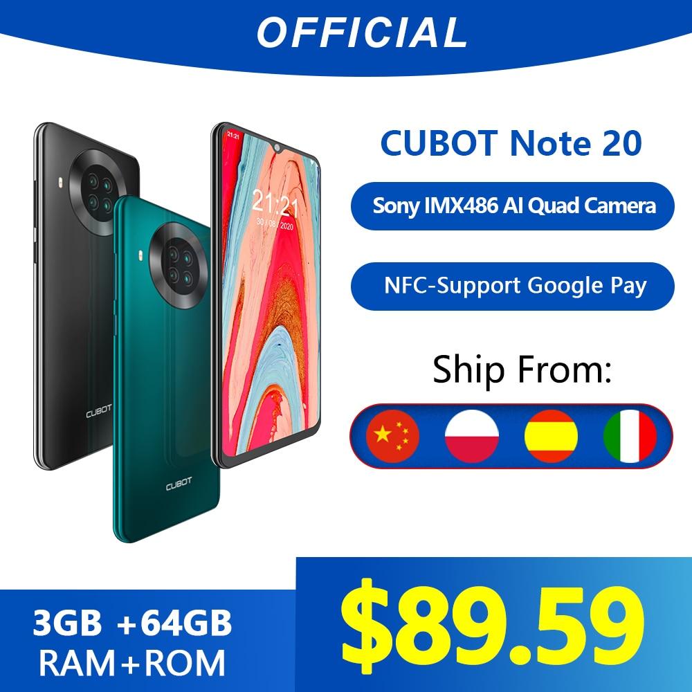 Cubot Note 20 Rear Quad Camera Smartphone NFC 6.5 Inch 4200mAh Google Android 10 Dual SIM Card Telephone 4G LTE 3GB+64GB celular(China)