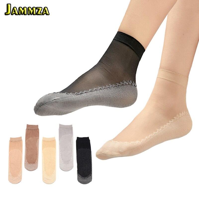 Women Summer Anti-slip Cotton Bottom   Glass Silk Ankle Socks Velvet Short