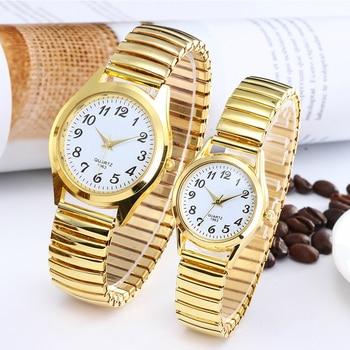 1PCs Fashion Vintage Business Women Men Elastic Gold Sliver Quartz Watch Tide Lovers Couple Party Office Gifts Bracelet Watches 2