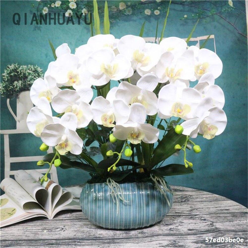 Искусственного шелка бабочка цветок орхидеи фаленопсис букет для свадьбы и Рождества DIY украшения дома искусственный сад горшок Декор