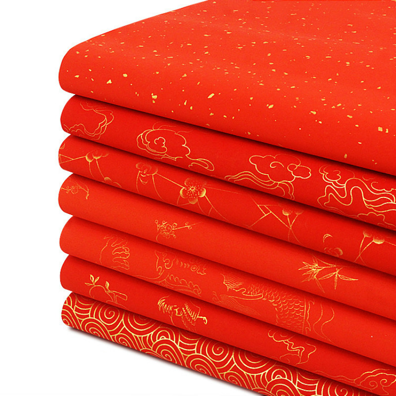 Calligraphy Papers Chinese Rice Paper Xuan Papers For Chinese Spring Festival Couplets Red Rice Papers Rijstpapier 10 Sheets