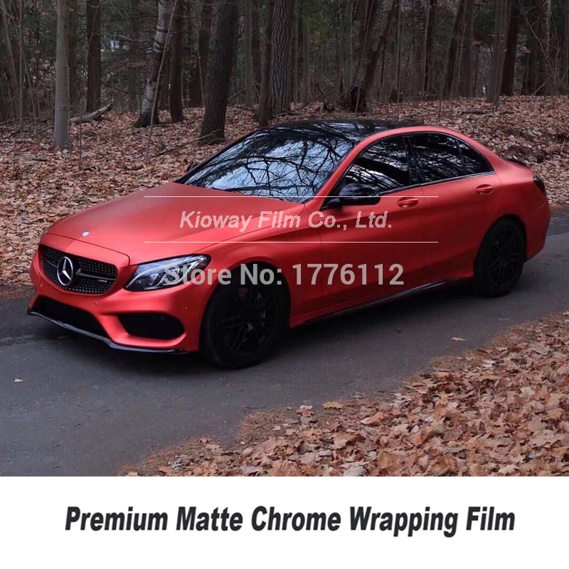 *Premium Chrome Red Car Vinyl Wrap Sticker Decal Film Air Release Bubble Free