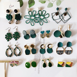 New Fashion Green Series Korean Creative Geometric Round Hollow Flower Statement Drop Earrings For Women Party Jewelry