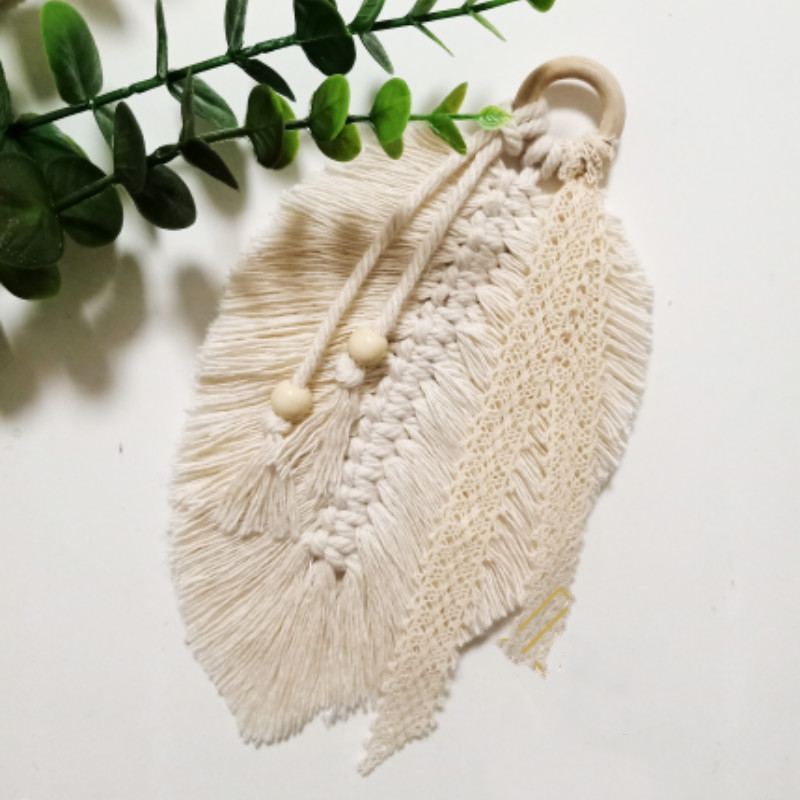Home Decoration Accessories Macrame Wall Hanging Feathered Charm Car Wall Hanging Bohemian Hand-woven Wall Tapestry Boho Decor