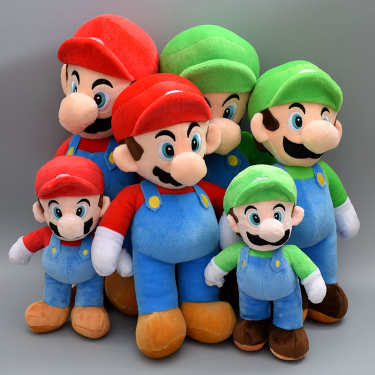25/37/42CM Super Mario Bros Luigi Plush Toys Super Mario Stand Mario Brother Stuffed Toys Soft Dolls For Children Cartoon Gifts