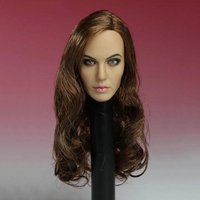 1/6 Scale T 10 Female Long Hair Women Actress Angelina Jolie Head Carving Model For 12 Action Figure Body Doll Toys