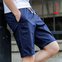 Knitted Embroidered Stripe Sports Blue Grey Shorts Casual Pants
