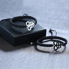 Acier inoxydable Lucifer Leviathan croix breloque noir tressé corde chaîne Bracelets pour femme homme longueur réglable prière bijoux