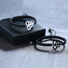 Rvs Lucifer Leviathan Cross Charm Zwart Gevlochten Touw Ketting Armbanden Voor Vrouwen Man Lengte Verstelbare Gebed Sieraden