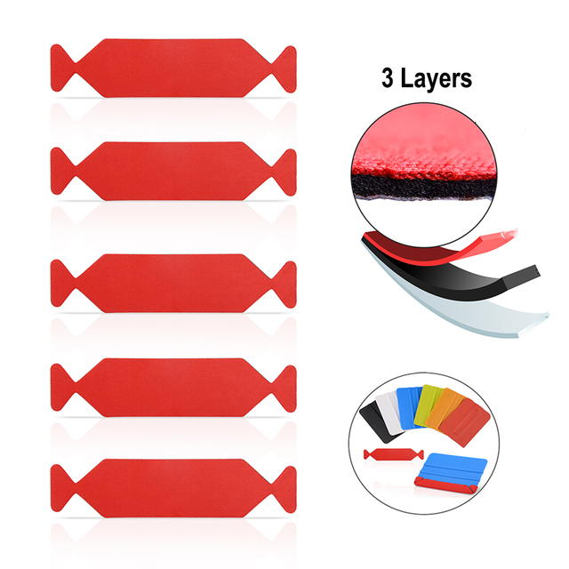 FOSHIO 5pcs 3 Lagen Waterdichte Stof Doek voor Alle 10cm Zuigmond Auto Vinyl Carbon Wrap Gereedschappen Venster tint Schraper Rand