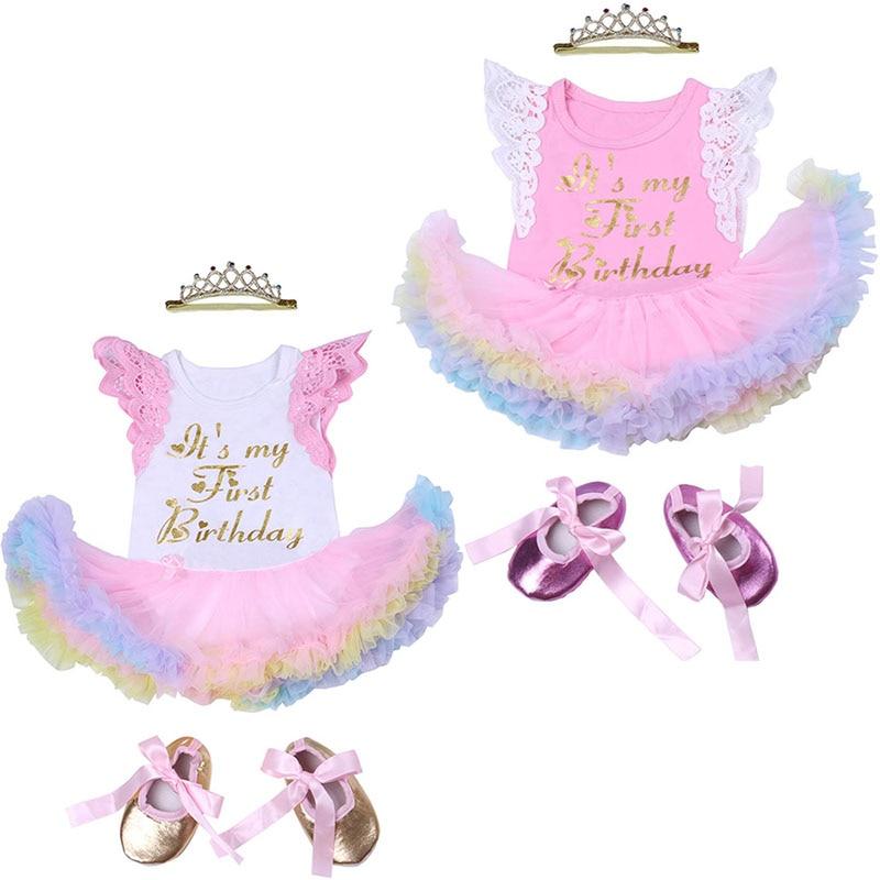 É o meu 1st aniversário roupas bebê meninas manga curta rendas babados tutu vestido + bandana + sapatos define vestidos da menina da criança para 1 ano