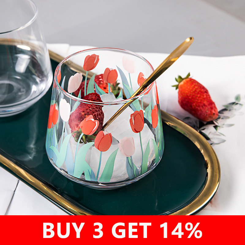390ML Japan and South Korea Ins Hand-painted Tulip Flower Glass Cup Household Heat-resistant Drinking Cup Big Belly Mousse Cup