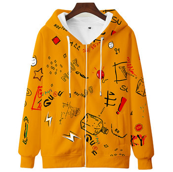 Teens Men Women Cute Hoodie Sweatshirt 3D Casual Zipper Anime Hoodies Pollover Yellow Harajuku Streetwear Spring Autumn 2
