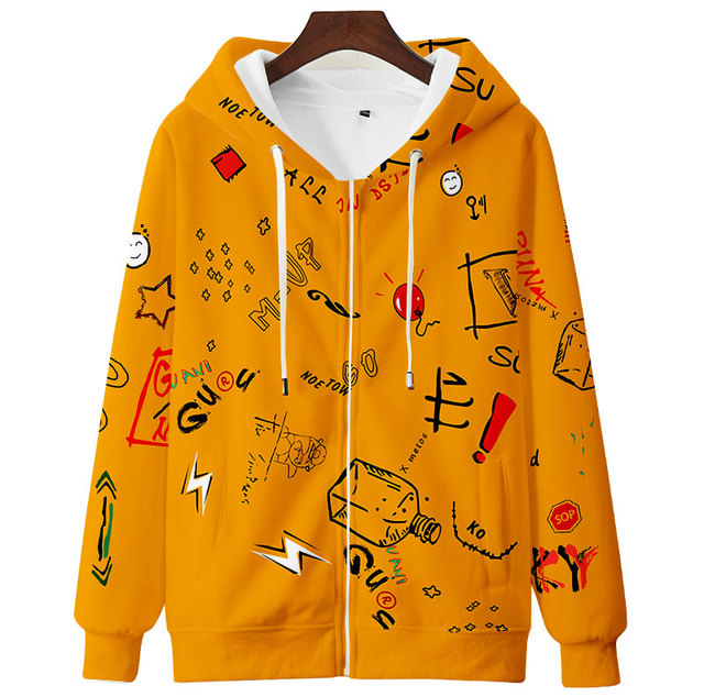 Teens Men Women Cute Hoodie Sweatshirt 3D Casual Zipper Anime Hoodies Pollover Yellow Harajuku Streetwear Spring Autumn 2