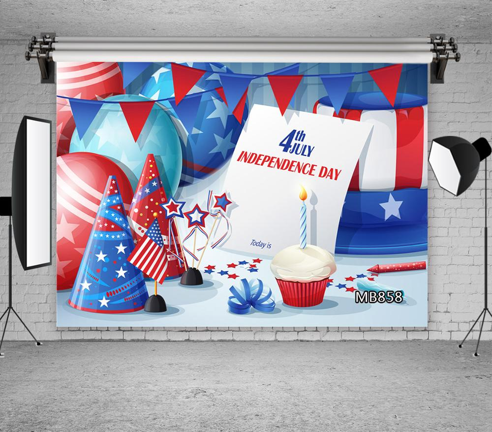 <font><b>July</b></font> <font><b>4</b></font> American Independence Day Photography Background Cake Balloon Stars Backdrop Party <font><b>Decor</b></font> Photocall Backdrop Photo Studio image