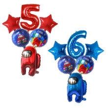 6 pçs entre balões eua número folha ballon estrela jogo tema feliz aniversário decorações da festa de aniversário crianças decoração dos desenhos animados conjunto brinquedos
