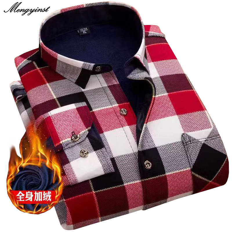 2020 Winter Mens Fashion Thicking Warm Long Sleeve Plaid Shirt Male Business Casual Fleece Lined Soft Flannel Dress Shirts L~4XL