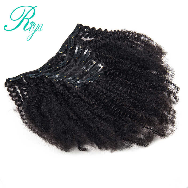 Riya Hair Clips In Brazilian Human Hair Afro Kinky Curly Clip In Hair Extensions 8 Pieces And 120g/Set Natural Color Remy Hair