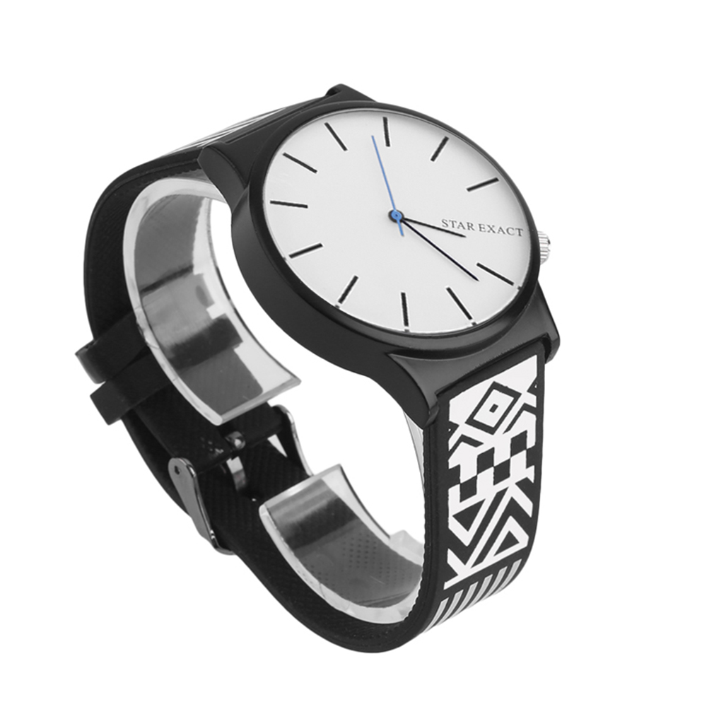 Punk Style Lover Watch Personality Floral Eyes 7 Printed Women Men Watch Casual Quartz Rubber Wrist Watch Black/White Unisex