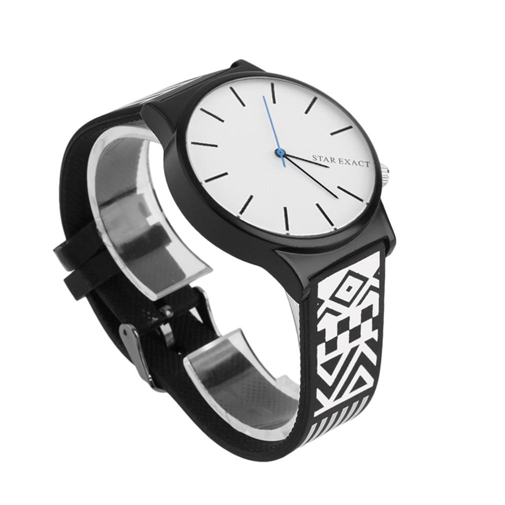 Punk Style Lover Watch Personality Floral Eyes 7 Printed Women Men Watch Casual Quartz Rubber Wrist Watch Black/White Unisex