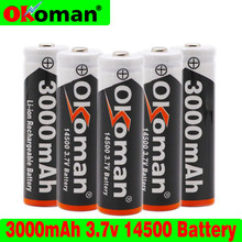 14500 bateria 3.7v 3000mah 14500 recarregável li-ion bateria para lanterna led bateria acumulador frete grátis