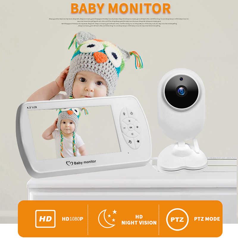 شاشة 1080P 4.3 بوصة لاسلكية فيديو مربية مراقبة الطفل مع كاميرا الأمن 2MP Babyfoon مراقبة درجة الحرارة للرؤية الليلية