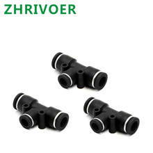 OD Hose Tube Push In Air Gas Fitting Quick Connector Adapters Black 3 Way T shaped Tee Pneumatic Fittings PE 4mm to 16mm