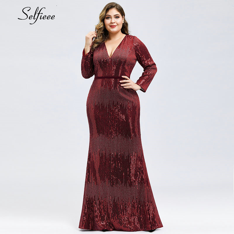 Plus Size Burgundy Maxi Dresses Women Sequined Mermaid Deep V-Neck Long Sleeve Bodycon Dress Sexy Sparkle Party Dress Robe Femme