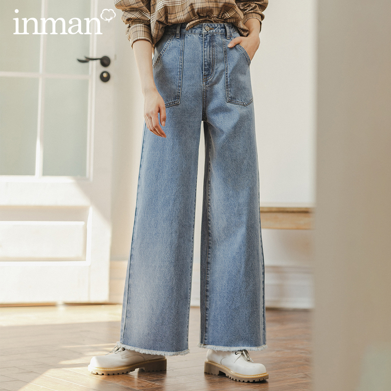 INMAN 2020 Spring New Arriavl Literary Retro Pure Cotton Straight Fashion Loose Jean