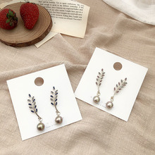 S925 silver needle leaf earrings Korean colorful crystal exaggerated pearl long tassel female