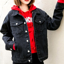 2020 Women Denim Jacket Black Loose Coat Casual Vintage Denim Female Outwear Solid Color Single Breasted Jacket Drop Shipping(China)