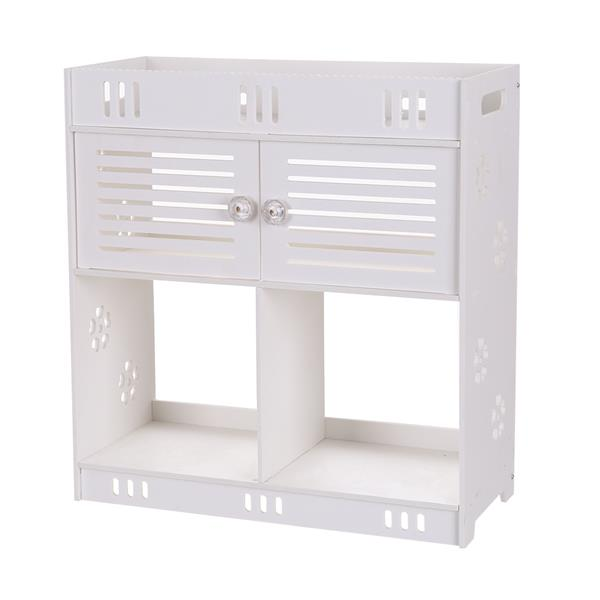 (40 X 18 X 43)cm Non-Perforated PVC Bathroom Wash Cabinet With Three Layers And Two Doors , Bathroom Wall Cabinet , Durable.