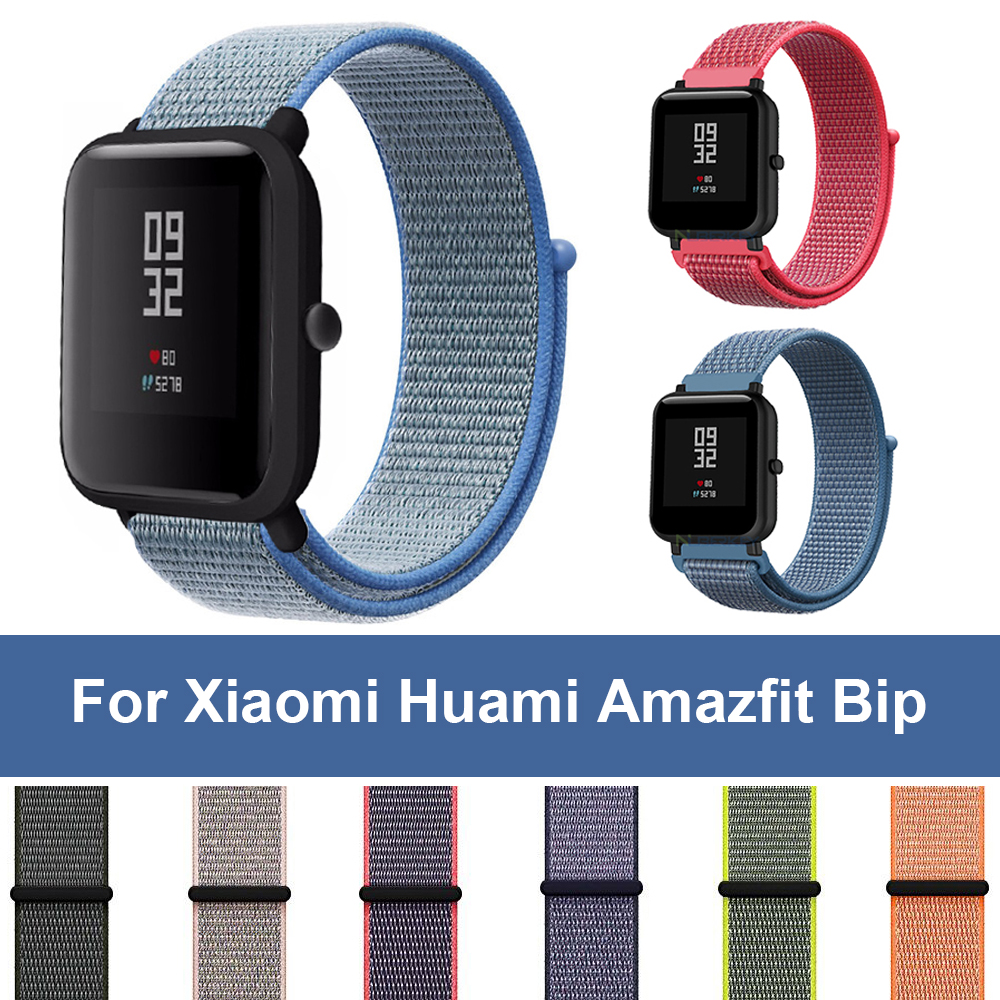 Woven Nylon Loop 20mm Band For Xiaomi Huami Amazfit Bip BIT Lite Youth Smart Watch Wrist Strap Bracelet For Amazfit Watchband