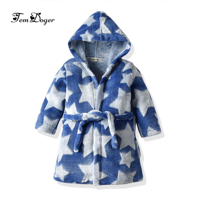 Kids Dressing Gown Dinosaur Button Hooded Thick Winter Baby Bathrobe Super Soft Flannel Home Clothing Boys and Girls Bath Robe