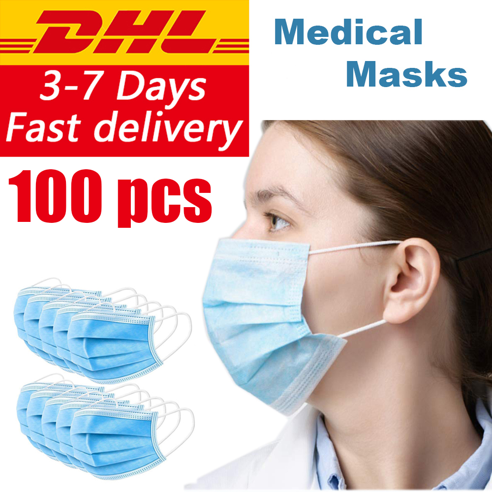100pcs Disposable Dustproof Surgical Face Mouth Masks Face Mask DHL Shipping Or Aliexpress Standard Shipping