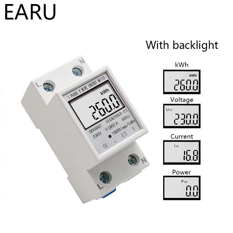 Однофазный двухпроводной ЖК-цифровой дисплей ваттметр энергопотребление электрический счетчик кВтч AC 230 В 50 Гц Электрический din-рейка